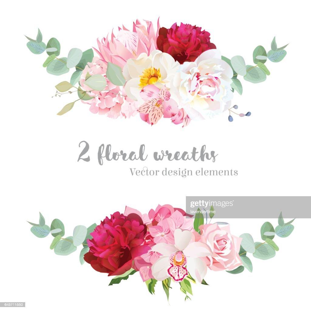 Floral mix wreath vector design set.