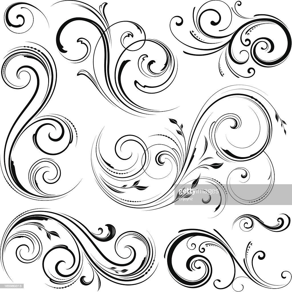 Floral Motif Designs High-Res Vector Graphic