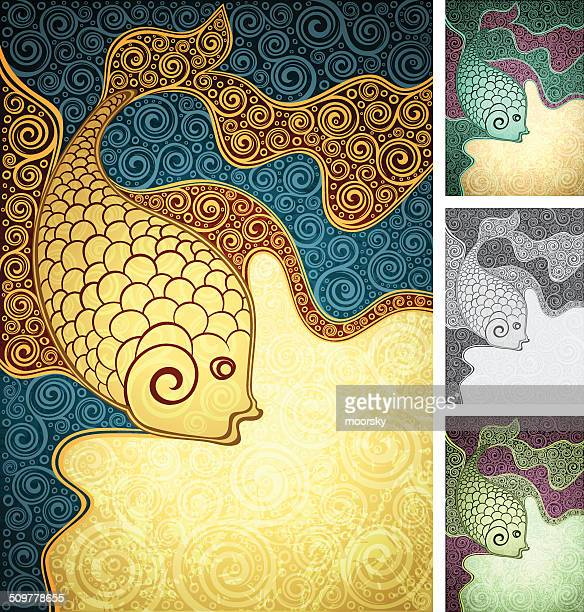 floral multi-coloured fish - animal scale stock illustrations, clip art, cartoons, & icons