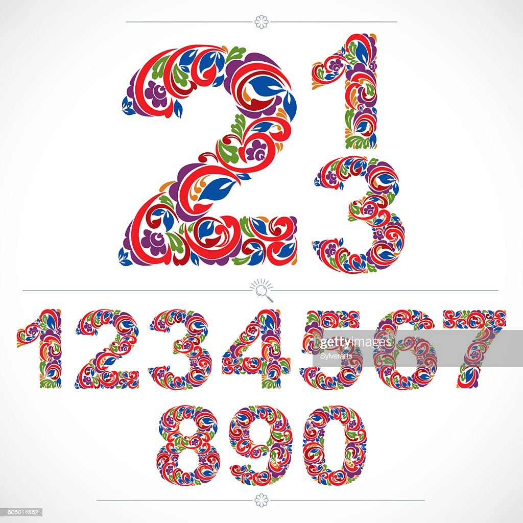 Floral numbers drawn using abstract vintage pattern, spring design