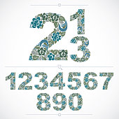 Floral numbers drawn using abstract vintage pattern, spring leaves design. Vector digits created in natural eco style.