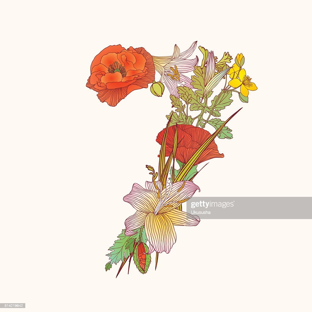 Floral numeral figure 7