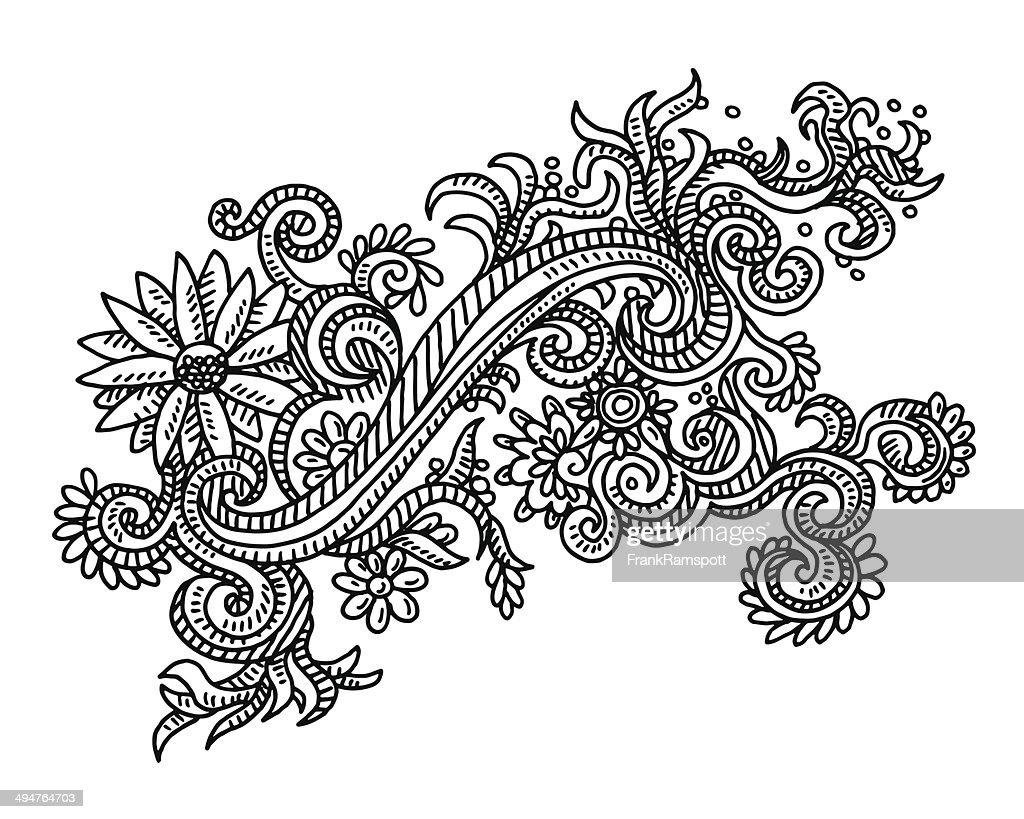 Floral Ornament Vector Free: Floral Ornament Design Drawing Vector Art