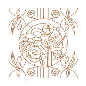 Floral ornament for stained glass window in the Modern style