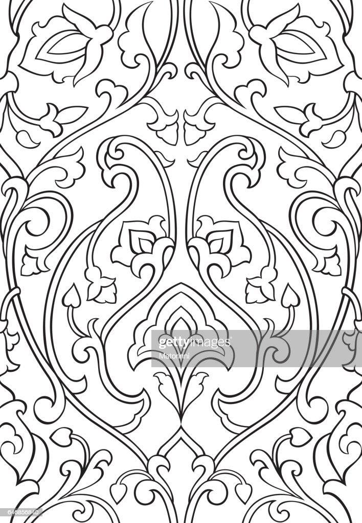 Floral ornament for wallpaper.