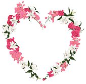 Floral ornament heart vector frame