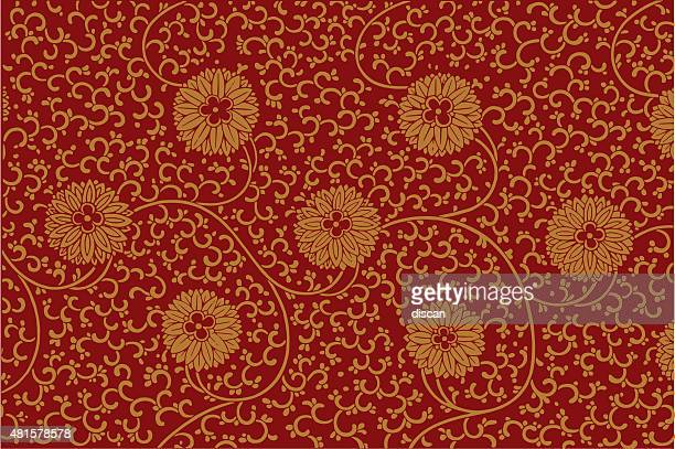floral ornament in chinese style - chinese ethnicity stock illustrations