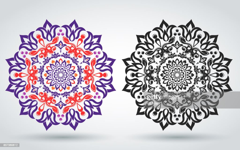Floral ornament. Vector illustration. Oriental pattern of the mandala. Indian style.