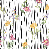 Floral ornamental seamless pattern. Abstract flower bouquet back