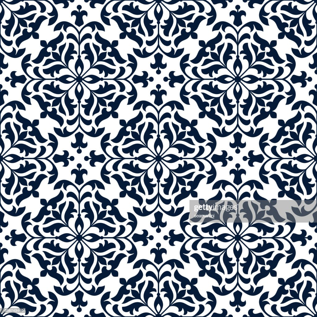 Floral ornate tile or vector seamless pattern