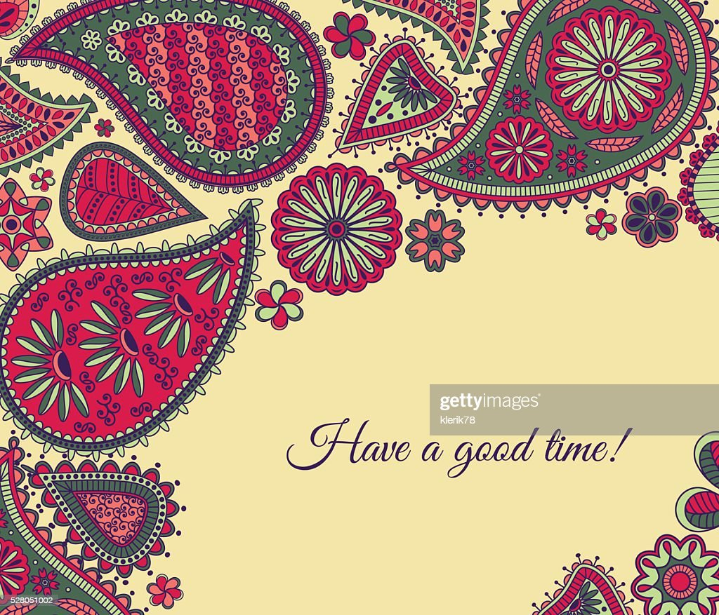 Floral paisley background with indian ormament