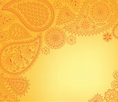Floral paisley background with indian ornament