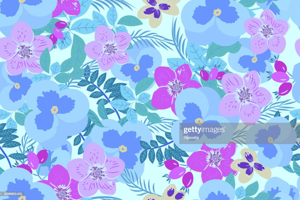 Floral  pansy, rose background vector illustration