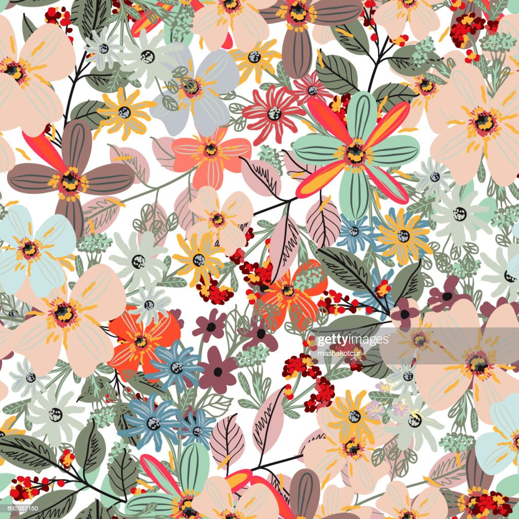 Floral pastel color pattern with spring flowers