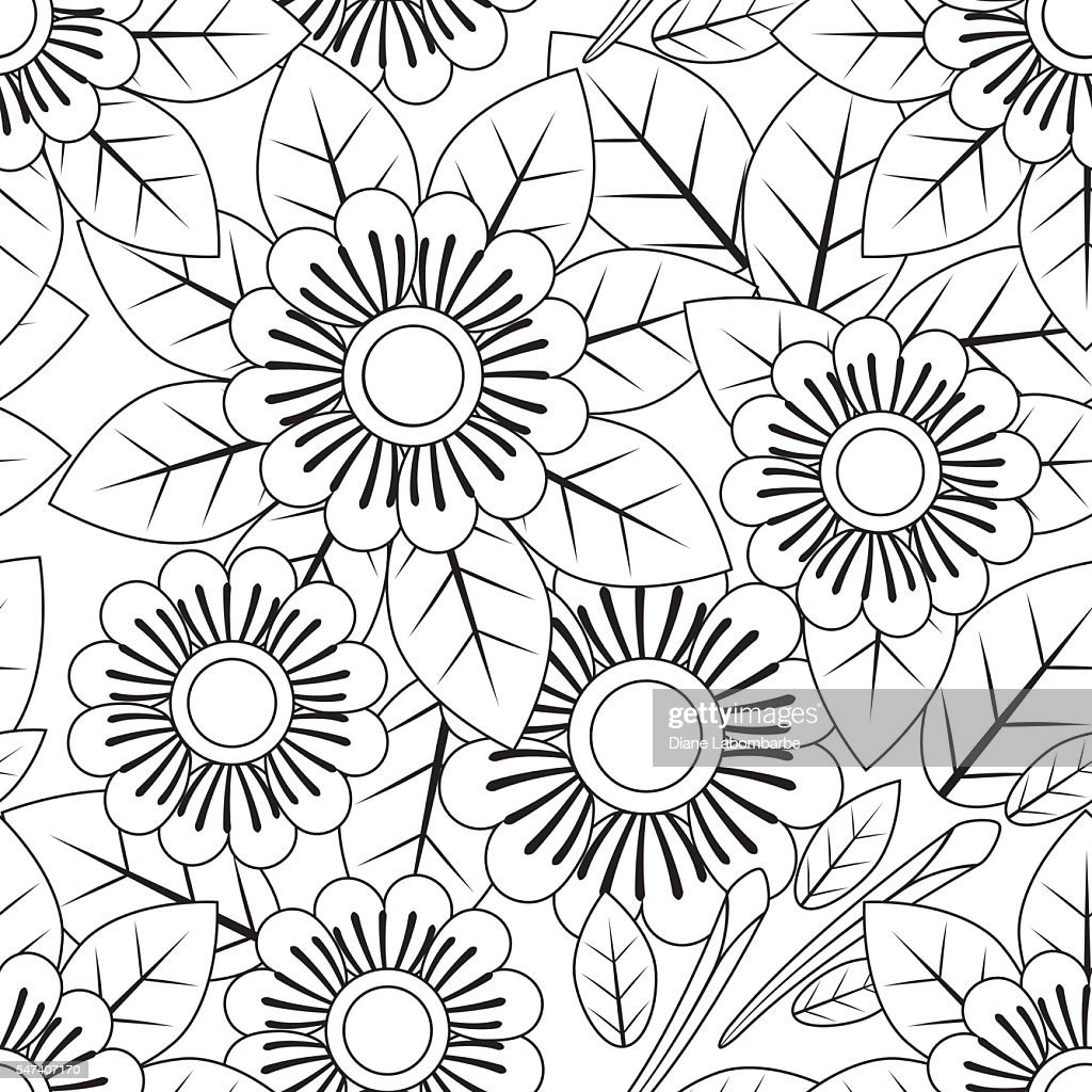 Floral Pattern Adult Coloring Page Stock-Illustration ...