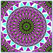Floral pattern, colour scarf design. For design of carpet, shawl, pillow, cushion. Vector illustration