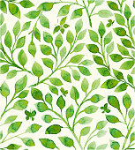 Floral pattern filled with green leaves