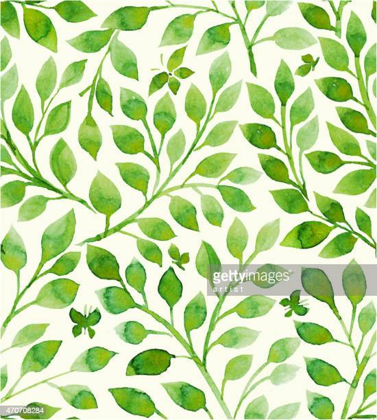floral pattern filled with green leaves - floral pattern stock illustrations
