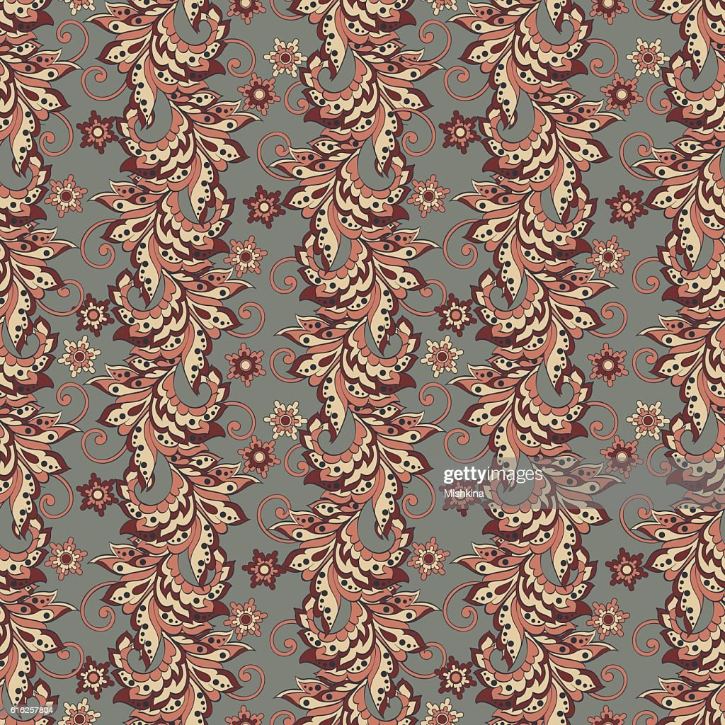 Floral Pattern in Indian Batik Style. Seamless Vector background : Vector Art