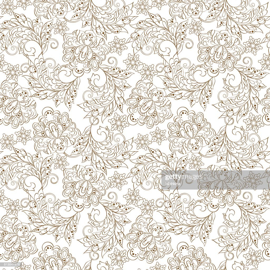 Floral Pattern in Indian Batik Style