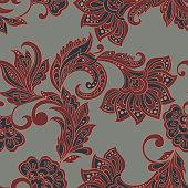 Floral pattern.  Indian, damask seamless wallpaper.