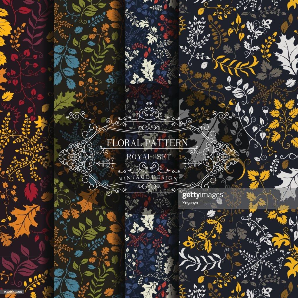 Floral pattern on a dark background. Set. Vector illustration.