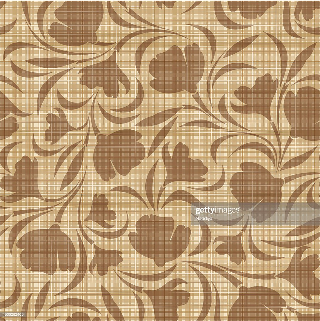 Floral pattern on a sacking background. Vector seamless background.