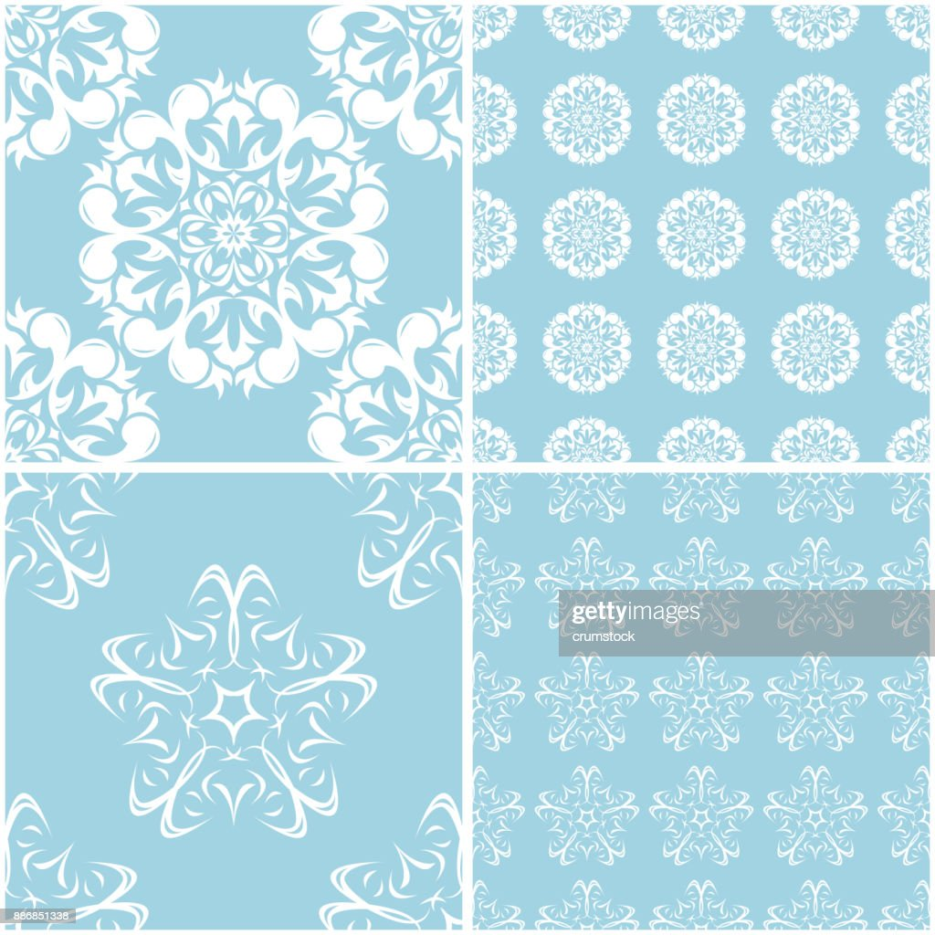 Floral Patterns Set Of Blue And White Seamless Backgrounds High