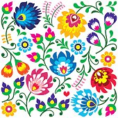 Floral Polish folk art pattern in square