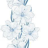 Floral seamless background. Flower pattern. Border with flowers.