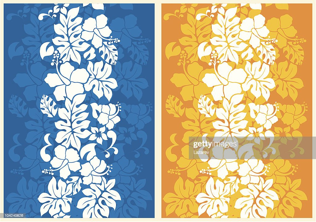 A floral seamless background, one blue the other gold