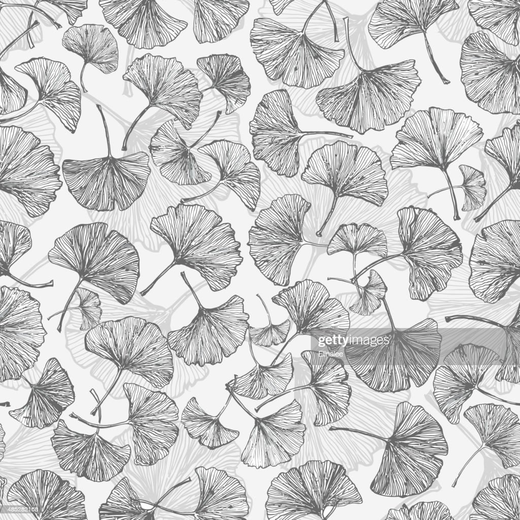 Floral seamless background with ginkgo leaves.