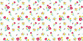 Floral seamless colorful pattern with yellow and red flowers on white background. Ditsy floral background.