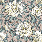 Floral seamless pattern. Flourish garden background. Fantastic flowers and leaves.