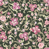 Floral seamless pattern.  Flower background.  Flourish nature garden textured wallpaper