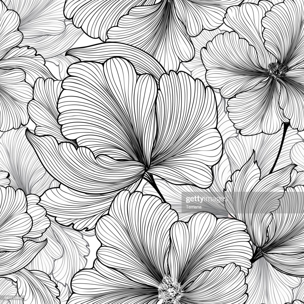 Floral seamless pattern Flower background Flourish stripped petals sketch