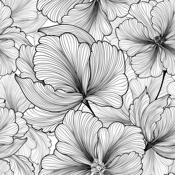 Floral seamless pattern Flower background Flourish stripped petals sketch