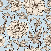 Floral seamless pattern. Flower background Flourish swirl vintage engraving