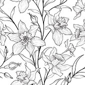Floral seamless pattern. Flower black and white background.