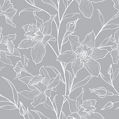 Floral seamless pattern. Flower doodle background. Floral engraving texture with flowers. Flourish sketch tiled wallpaper