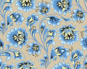 Floral seamless pattern. Flower ornament. Ornamental festive background in ethnic russian style