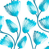 Floral seamless pattern. Hand drawn creative flowers. Artistic background. Abstract herb. Stain of paint