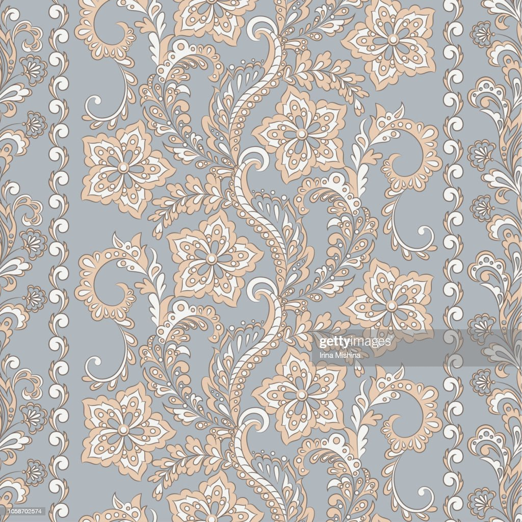 Floral seamless pattern in batik style, Vector background