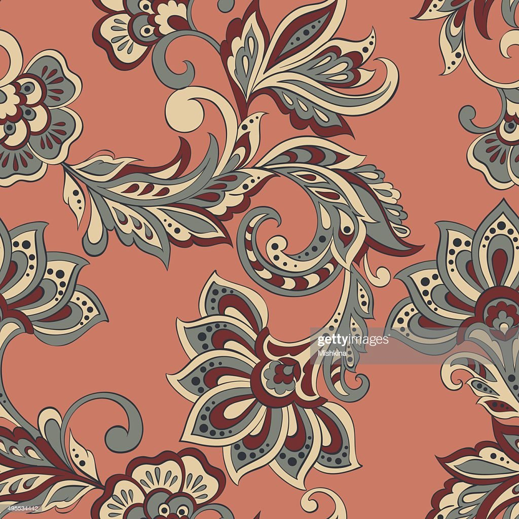 Floral seamless pattern in indian style.