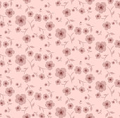 Floral seamless pattern in small-scale flowers, pastel pink colors, Vector background