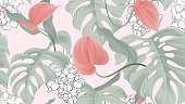 Floral seamless pattern, red Anthurium flowers and split-leaf Philodendron plant on pink background, pastel vintage theme