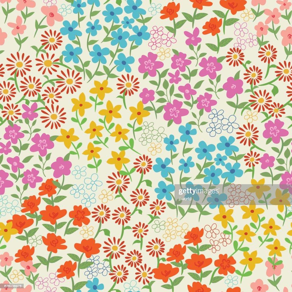 花のシームレスなパターン。 : ストックイラストレーション