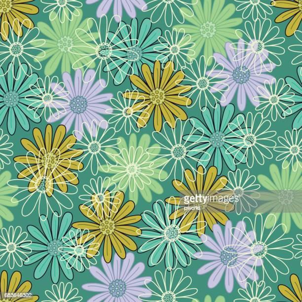 花のシームレスなパターン。