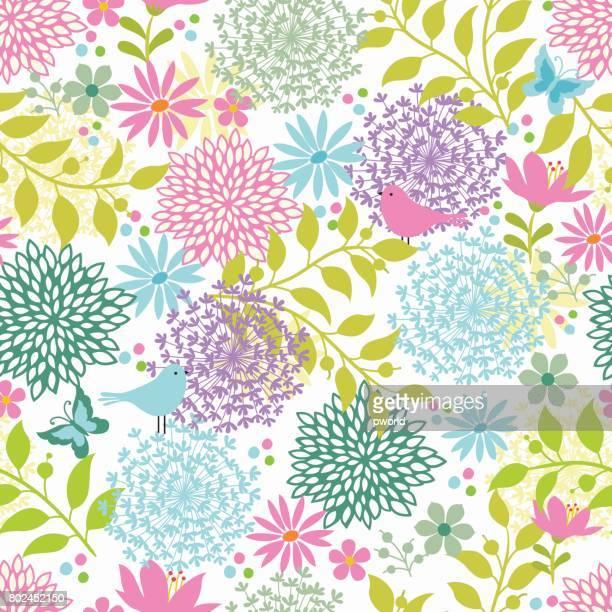 ilustrações, clipart, desenhos animados e ícones de floral seamless pattern. - lepidóptero