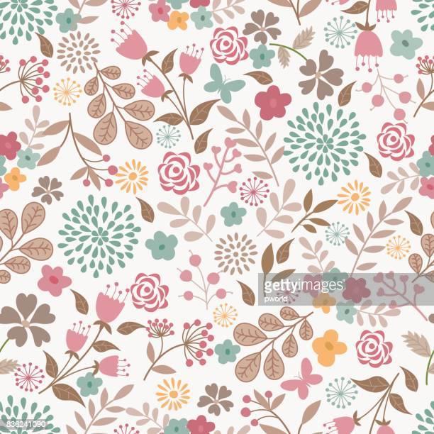 illustrations, cliparts, dessins animés et icônes de motif floral. - les 4 saisons